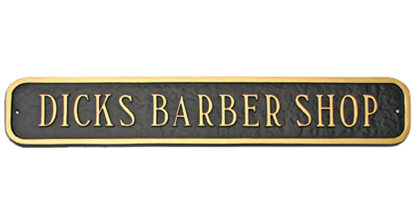 Extension Address Plaque shown here presenting business name. Lettering and border are raised aluminum adding texture, warmth and exceptional durability to these plaques.