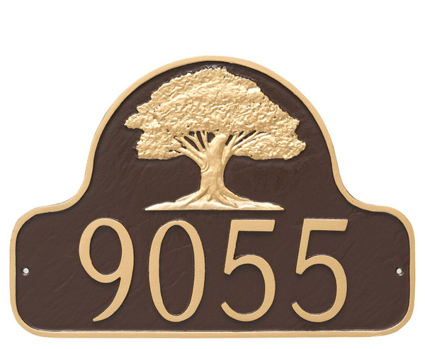 Stylish Oak Tree House Number Plaque shown in Chocolate Gold