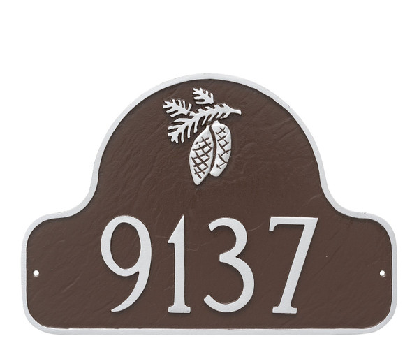 Pinecone Arch Address Plaque in Chocolate Silver