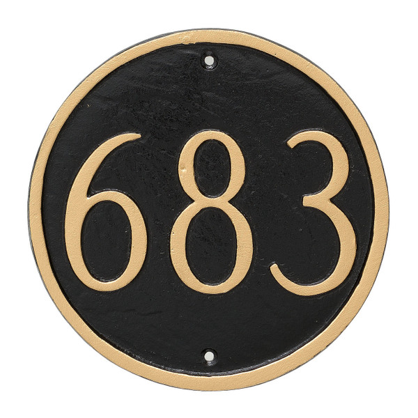 Round House Number Plaque (Estate Size) shown in Black/Gold combination. Numbers and border are raised providing visual texture & warmth to the look and feel of your house plaque.