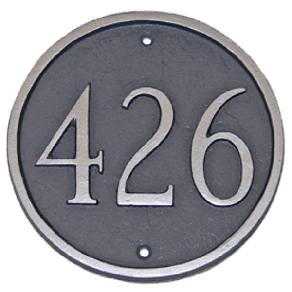 Estate Size. Metal House Number Plaque. Color Shown is Grey/Silver