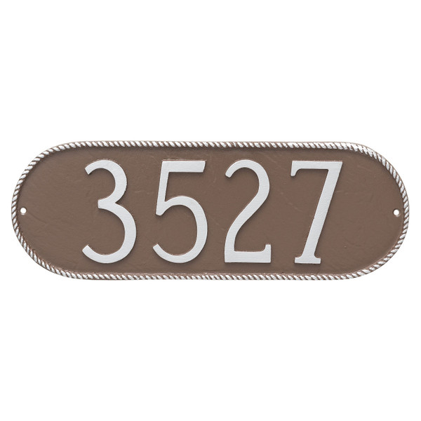 Shown in Sand/Silver the Rope Oblong House Number Plaque