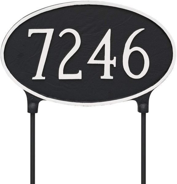 Two Sided Large Oval Address Plaque (lawn mount)