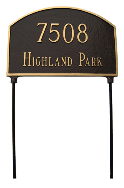 Two Sided Address Plaque. Rust Free Cast Aluminum. Lawn Stakes are Included for No Additional Charge