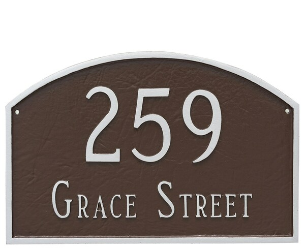 Arch Address Plaque. Shown in Chocolate/Silver color combination.