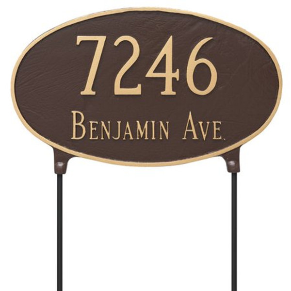 Two Sided Oval House Number Plaque lawn mount