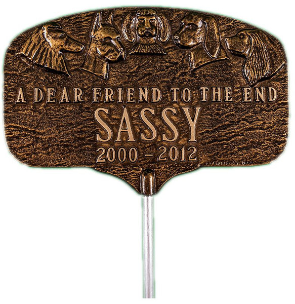 Dog Memorial Plaque comes with garden / lawn stake included
