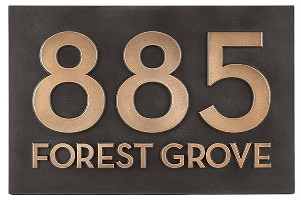 Modern Street Address Plaque-Bronze Patina Raised
