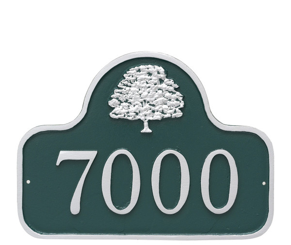 Small Address Plaque with Oak Tree shown in Hunter Green/Silver