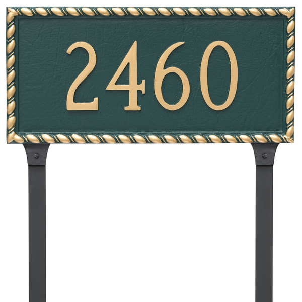 Franklin Address Plaque - Metal shown in Hunter Green Gold