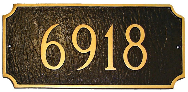 Address Plaque shown in Chocolate with Gold color combination. Raised numbers and border are used for a distinctive look.