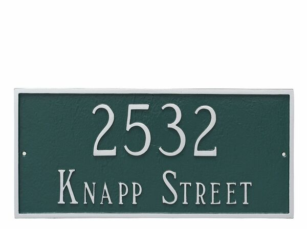 Classic Rectangle Address Plaque in Hunter Green and Silver