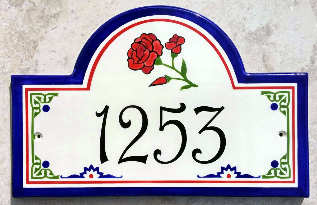 Spanish Red Rose House Number Plaque