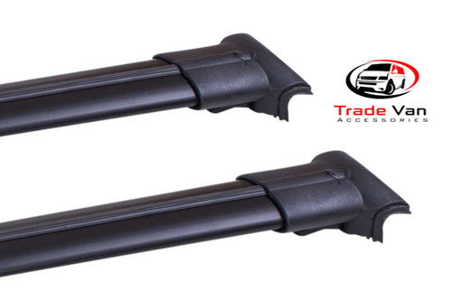 Our Volkswagen T5 Transporter, Caravelle, Shuttle TX3 Sahara Diamond Cross Bars and TX3 roof rails really upgrade your VW T5 van. These black anodised aluminium cross bars will fit all T5 transporter models including T5 Transporter, Caravelle, Double Cab, Kombi & Shuttle. Buy all your Van accessories online at Trade Van Accessories.