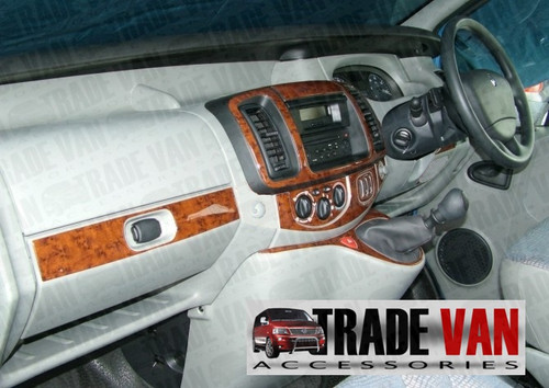 Vauxhall Vivaro Dash Kit in Mahogany wood look. Renault Trafic Dashboadr and Primastar Dash kits use the same model and part number as Vauxhall Vivaro Dashboard accessories.