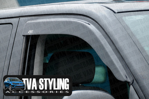 Our dark tinted VW Transporter T5 Wind Deflectors really help stop the wind blasts and rain when your window. Beautifully formed using superior Smoked tinted Acrylic. Buy online at Trade van Accessories.
