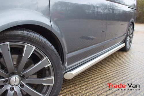 VW T5 / T6 Sport Side Bars Slash Cut Stainless Steel Tube 76mm