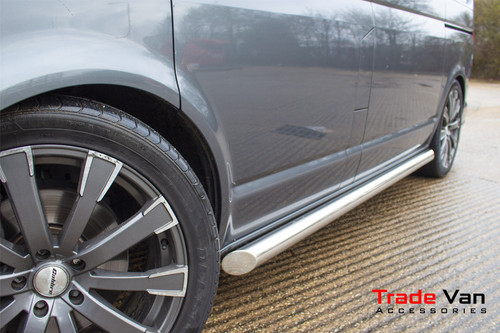 Ford Transit Custom Stainless Steel Side Bars Slash Cut Steel Tube 76mm