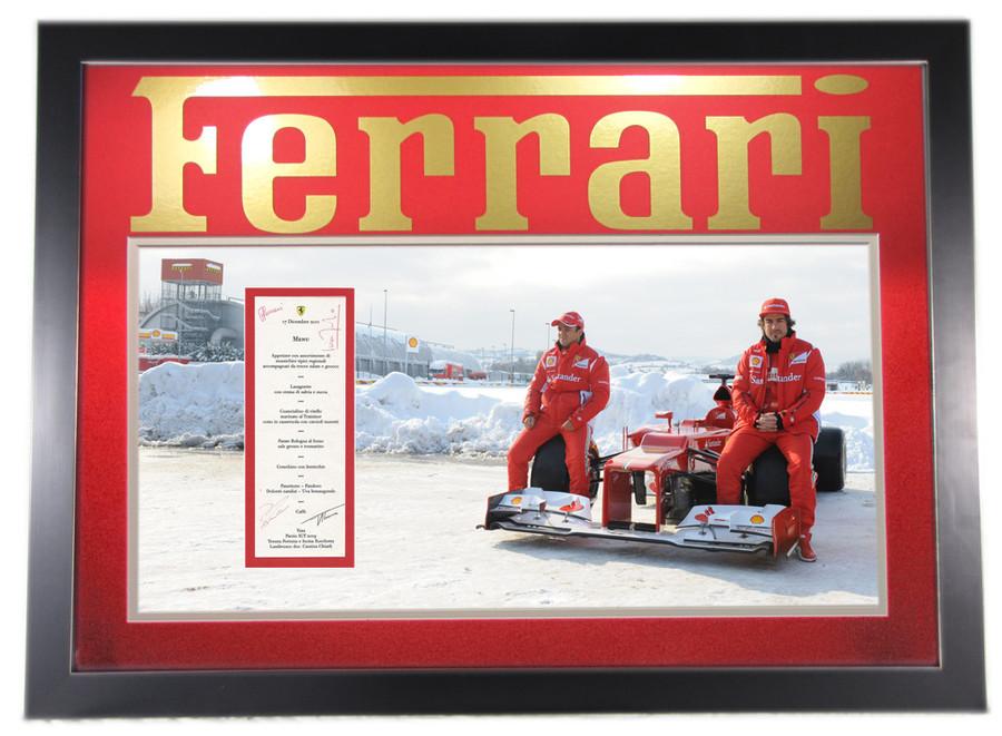 Ferrari Christmas Party Menu Frame Signed by Alonso, Massa, Ferrari, Di Montmozemelo