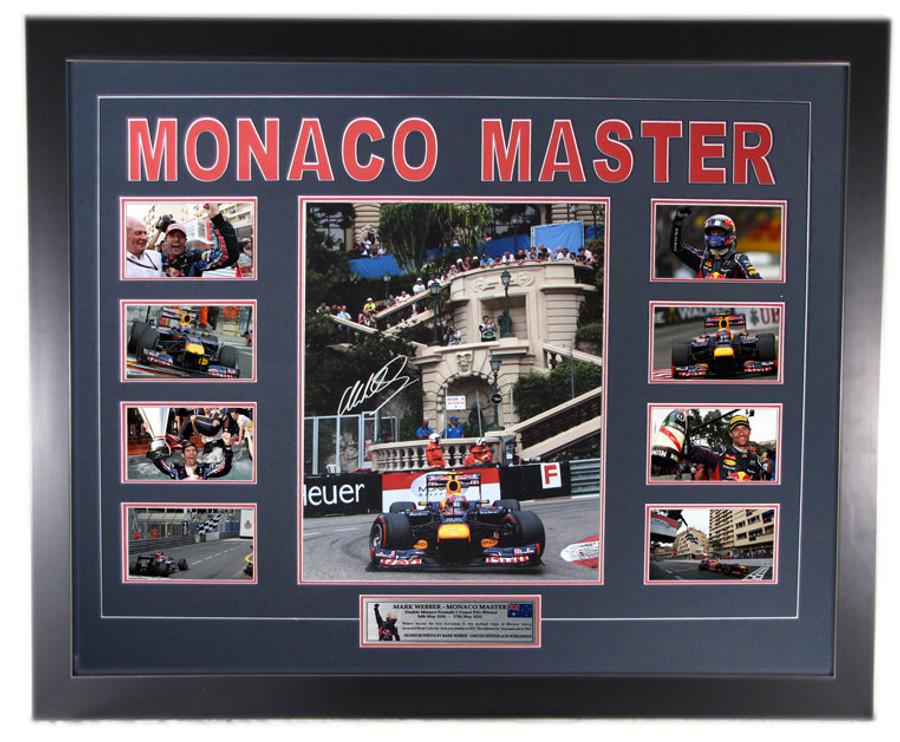 Mark Webber 'Monaco Master' 2010 - 2012 Monaco Win Limited Edition Signed Frame