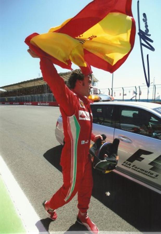 Fernando Alonso Signed Ferrari 2012 Valencia (1st Place) Photograph - 3