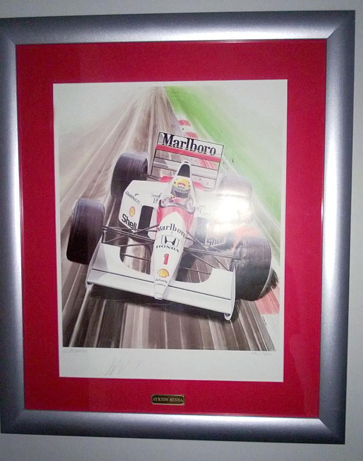 Ayrton Senna Personally Signed McLaren 'Clovis' Print - Limited Edition