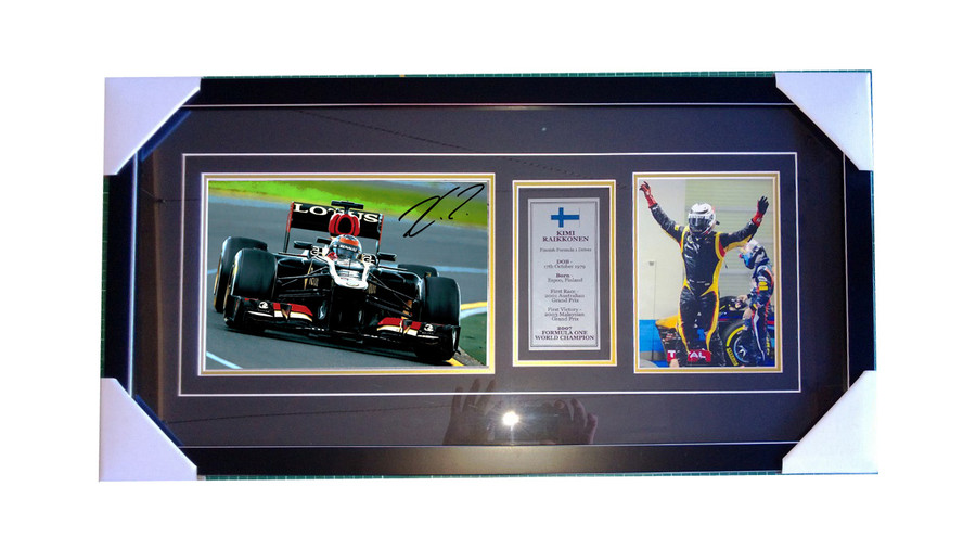 Kimi Raikkonen Signed Framed Lotus 2013 Photograph