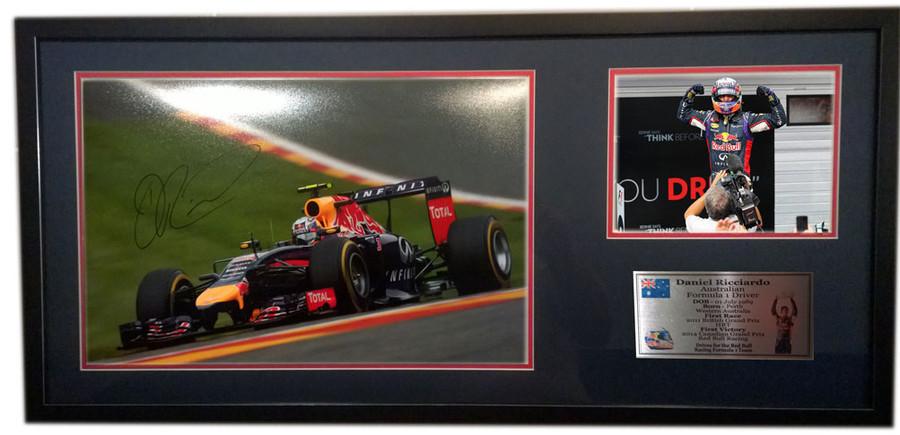 2014 Daniel Ricciardo Red Bull Belgian GP Large Signed Frame