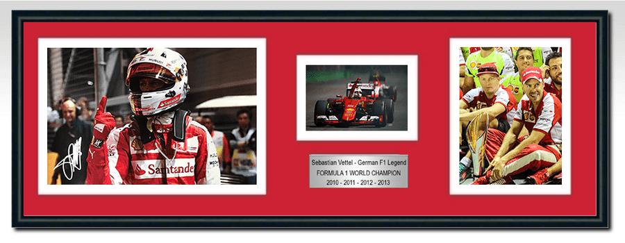 Sebastian Vettel Ferrari Signed Photograph / Frame - Singapore Win 2015 - 2