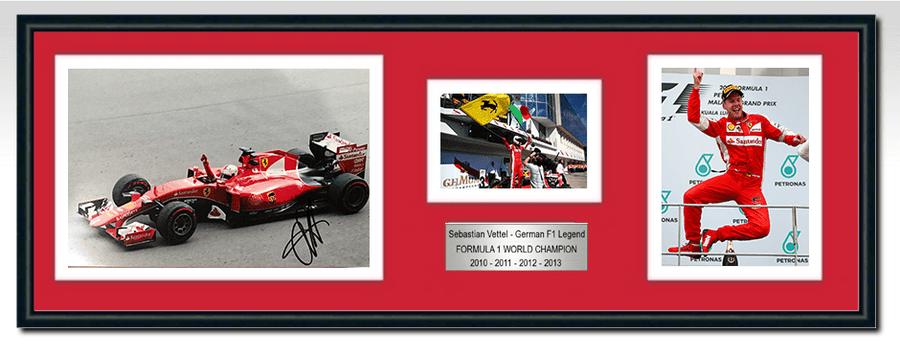 Sebastian Vettel Ferrari Signed Photograph / Frame - Malaysia 1st Ferrari Win 2015 - 2