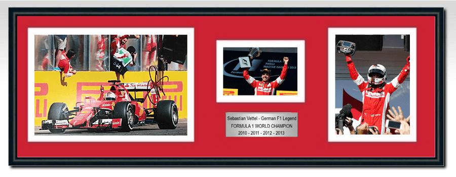 Sebastian Vettel Ferrari Signed Photograph / Frame - Hungarian GP Win 2015
