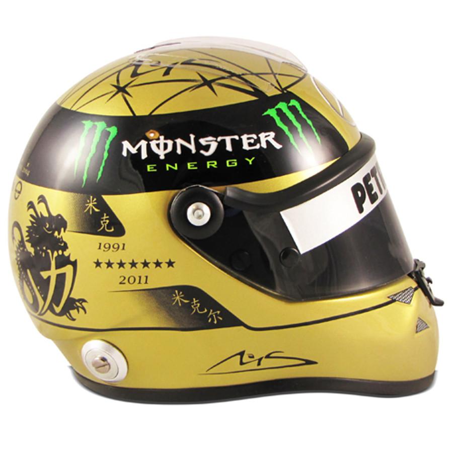 Michael Schumacher Signed 1:2 Size 2011 SPA Gold Edition Helmet
