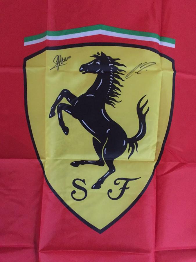 Official Ferrari Flag - Signed by Alonso, Massa, Raikkonen, Vettel