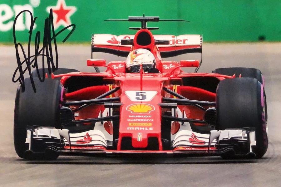 Sebastian Vettel Signed 2017 Ferrari Photograph