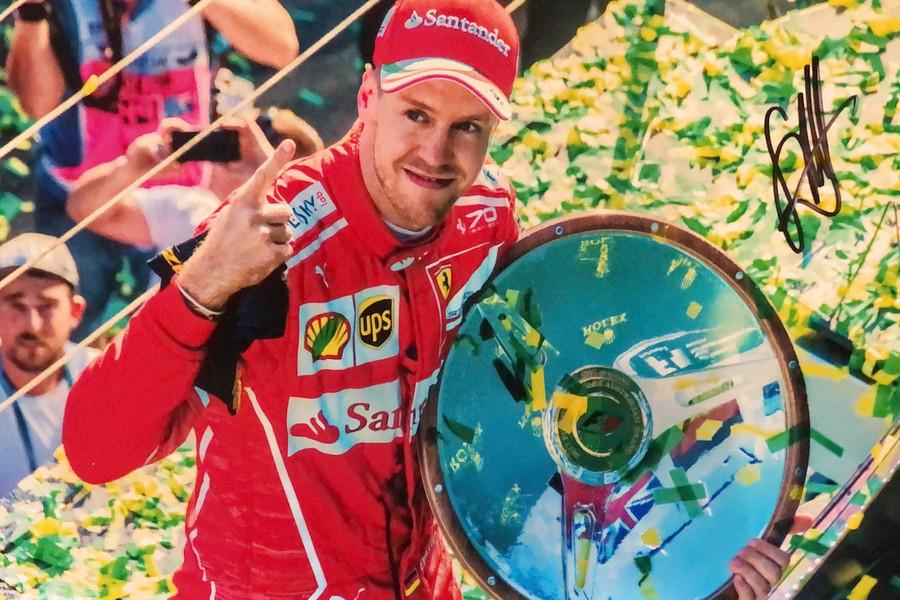 Sebastian Vettel Signed 2017 Australia Win Ferrari Photograph