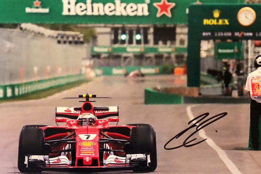 Kimi Raikkonen Signed 2017 Canadian GP Ferrari Photograph