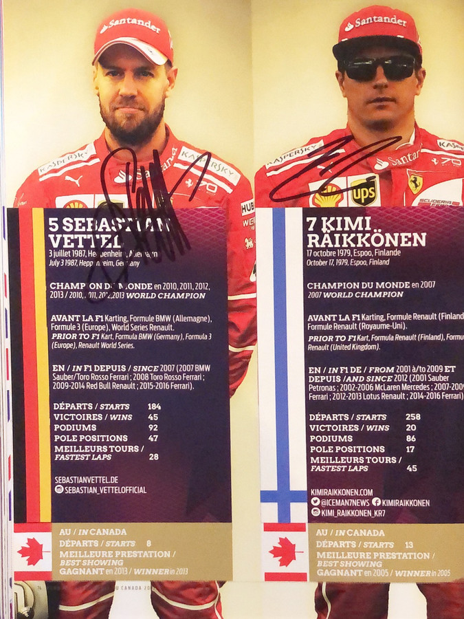 Sebastian Vettel and Kimi Raikkonen Signed 2017 Canadian GP Program