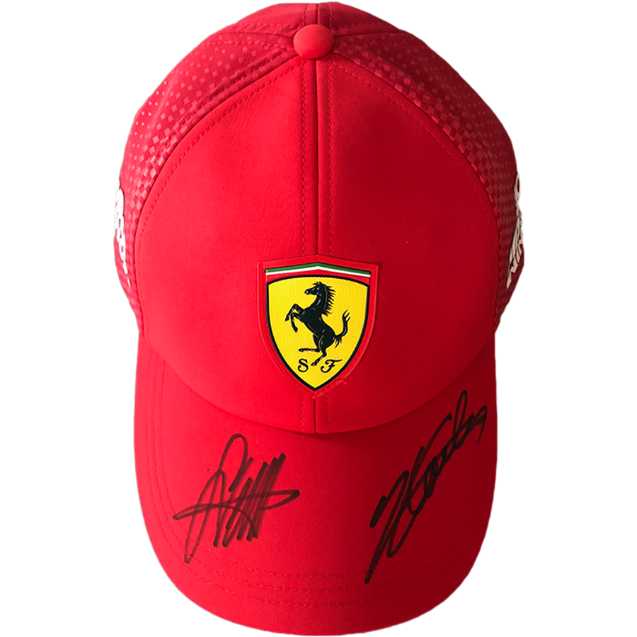 "Sebastian Vettel and Charles Leclerc Ferrari Signed 2019 Team Issue ""Mission Winnow"" Cap"
