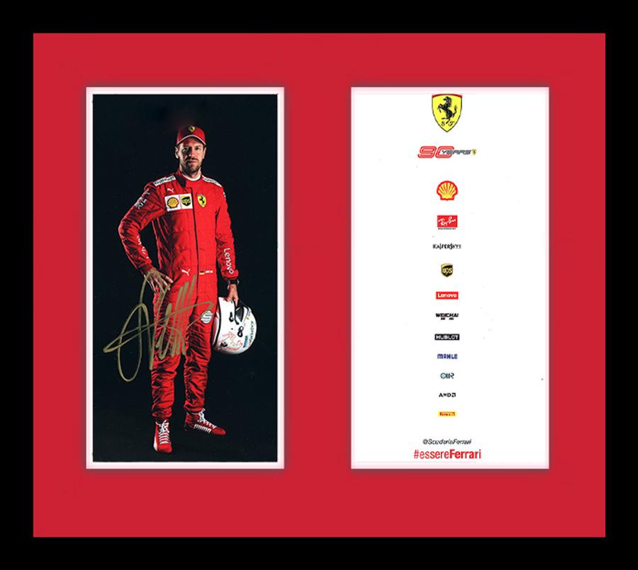 Framed 2019 Sebastian Vettel Signed Ferrari Driver Card - Australian Limited Edition