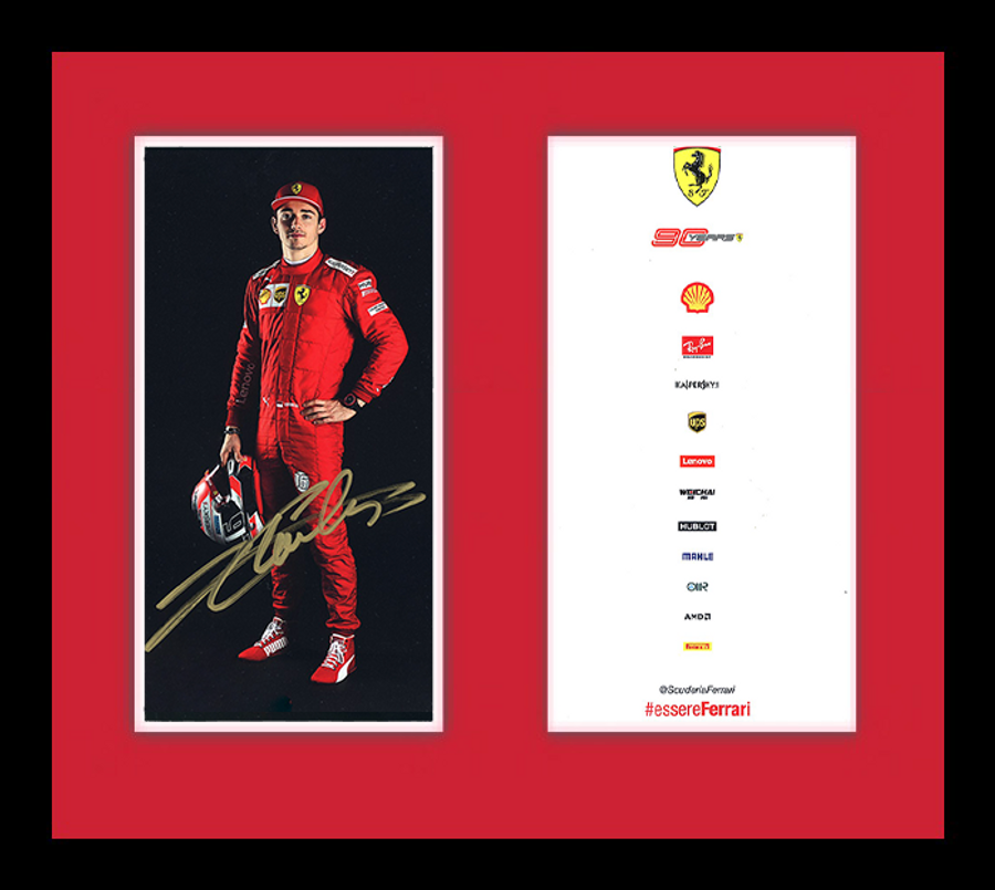 Framed 2019 Charles Leclerc Signed Ferrari Driver Card - Australian Limited Edition