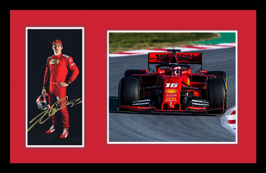 Large Framed 2019 Charles Leclerc Signed Ferrari Driver Card - Australian Limited Edition