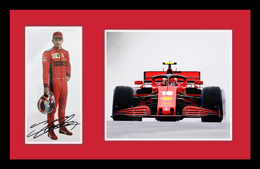 Large Framed 2020 Charles Leclerc Signed Ferrari Driver Card