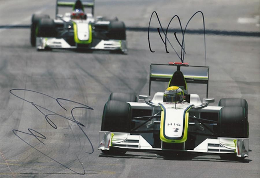 Jenson Button and Rubens Barrichello Signed Photograph 2009