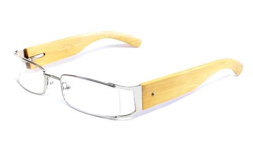 Calabria Designer Eyeglasses Bamboo 65 Silver & Blonde :: Rx Bi-Focal