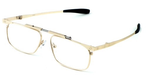 Calabria FAST-FOLD Metal Folding Eyeglasses w/ Case in Gold :: Rx Bi-Focal