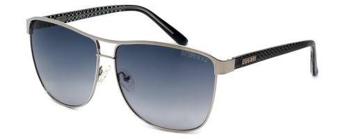 Guess  Designer Sunglasses GUF255 in Silver Frame with Green Lens
