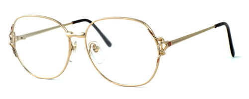 Fashion Optical Designer Eyeglasses E1013 in Gold Pink 57mm :: Progressive