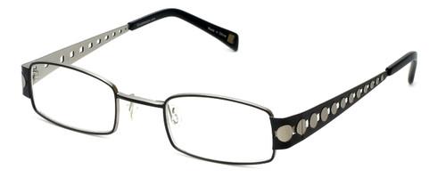Cinzia Designer Reading Glasses Industrial C1 in Black Silver 44mm