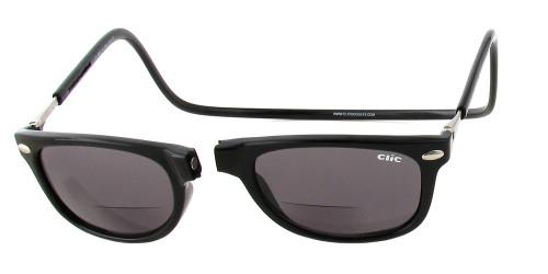 Clic Ashbury Bi-Focal Reading Sunglasses in Black & Grey Tint :: Regular Fit