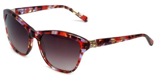 Vera Wang Designer Sunglasses Sora in Red Tortoise Frame & Brown Gradient Lens 57mm